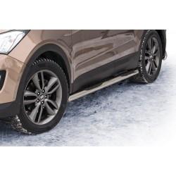 Marchepieds Hyundai Santa-Fe (2012 -) - Latéraux avec revêtement en plastique anti-dérapant