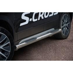 Marchepieds Suzuki SX4 S-CROSS (2013 - 2016) - Latéraux avec revêtement en plastique anti-dérapant -